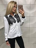 Блуза белая  женская с бенгалина и кружева  !