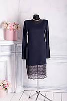 Женское трикотажное платье из ангоры с кружевом