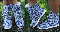 Красивые синие джинсовые женские ботиночки белым принтом и бантиком. АРТ-0081, фото 1