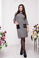 Платье с отделкой из экокожи больших размеров 50-56