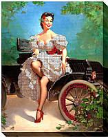 """Набор для вышивки бисером """"Девушка и авто"""""""