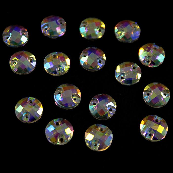 Камни-стразы пришивные арт. 3846 напыление АВ, круглые 10 мм