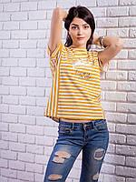 Женская футболка в полоску с принтом цвет горчица p.42-48 VM1911-1