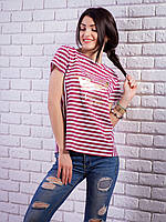 Женская футболка в полоску с принтом цвет бордо p.42-48 VM1911-2