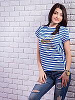 Женская футболка в полоску с принтом цвет электрик p.42-48 VM1911-4