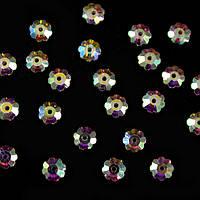 Камни-стразы пришивные арт. 3856 напыление АВ, цветок, пайетка 6 мм