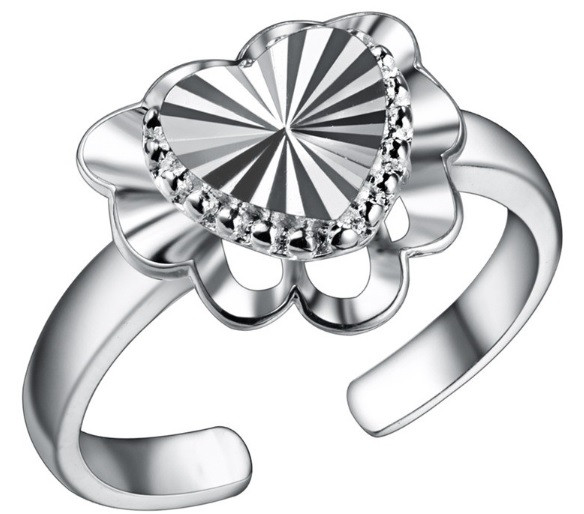 Кольцо Сердце PJ190/ бижутерия, покрытие серебро/ размер регулируется/ цвет серебро