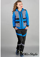 Трикотажный костюм Анжелика бирюза Olis-Style 46-54 размеры