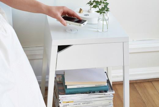 Встроенные устройства для беспроводной зарядки IKEA