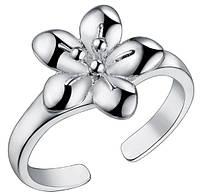 Кольцо Цветок PJ192 / бижутерия, покрытие серебро/ размер регулируется/ цвет серебро