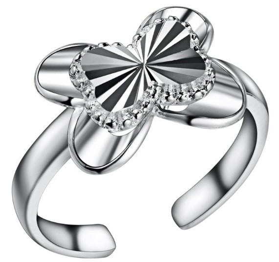 Кольцо Бабочка PJ188 / бижутерия, покрытие серебро/ размер регулируется/ цвет серебро