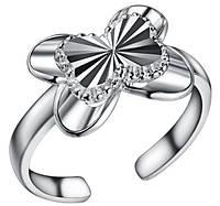 Кольцо Бабочка PJ188 / бижутерия, покрытие серебро/ размер регулируется/ цвет серебро, фото 1