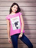 Женская футболка с комбинированной спинкой с рисунком цвет розовый p.42-50 VM1921-1