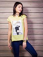 Женская футболка с комбинированной спинкой с рисунком цвет желтый p.42-50 VM1921-2