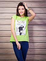 Женская футболка с комбинированной спинкой с рисунком цвет салатовый p.42-50 VM1921-4