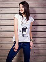 Женская футболка с комбинированной спинкой с рисунком цвет белый p.42-50 VM1921-5