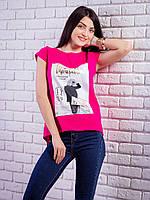 Женская футболка с комбинированной спинкой с рисунком цвет малиновый p.42-50 VM1921-6