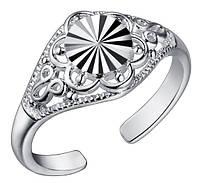 Кольцо Печатка PJ191 / бижутерия, покрытие серебро/ размер регулируется/ цвет серебро