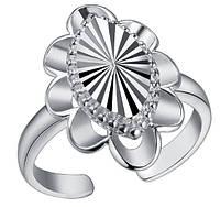 Кольцо Овал PJ196 / бижутерия, покрытие серебро/ размер регулируется/ цвет серебро, фото 1