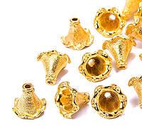 Колпачок концевик для бус металлический золото 22х21 мм