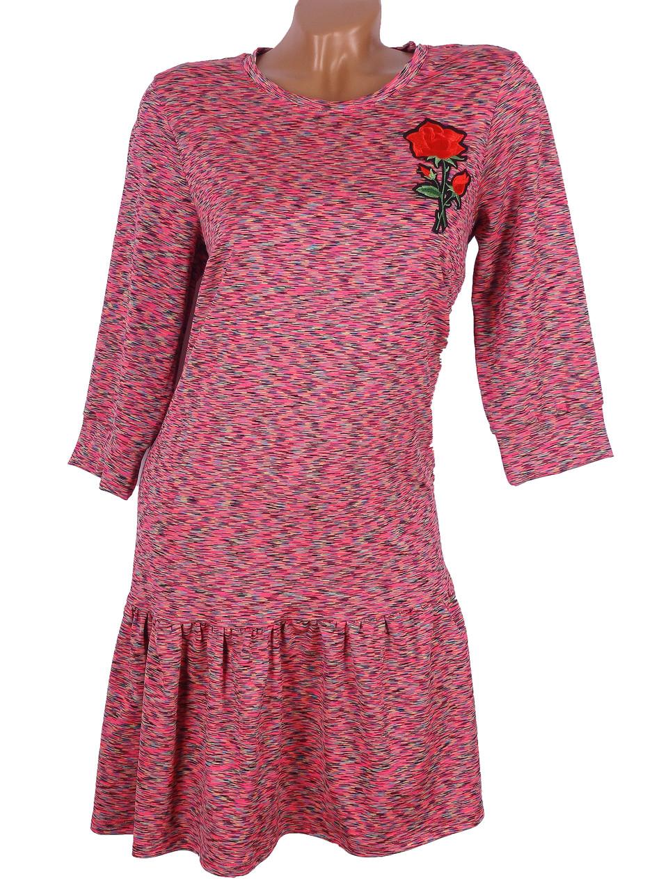 Свободное женское платье меланж (в расцветках 42-48)