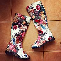 Женские стильные цветные тканевые высокие сапоги.  Арт-0648