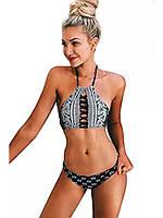 Стильный женский чорно-белый купальник., фото 1