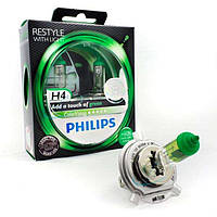 Автолампы H4 Philips COLOR VISION Green  12V 60/55W