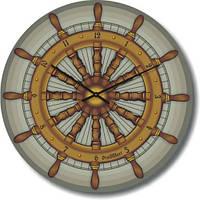 Часы настенные из стекла -Штурвал (немецкий механизм)