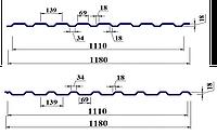 Профнастил ПС/ПК 18 0,45мм поліестер Китай