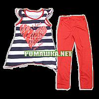 Детский летний костюм р. 104-110 для девочки тонкий ткань КУЛИР-ПИНЬЕ 100% хлопок 3586 Красный 104