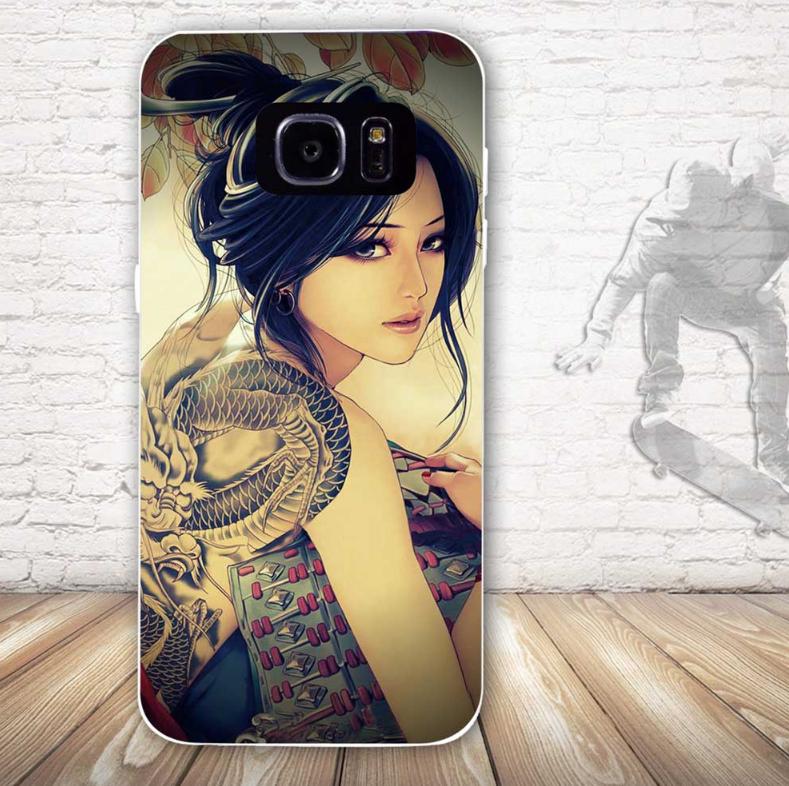 Бампер силиконовый чехол для Samsung Galaxy S7 edge с картинкой Девушка с тату