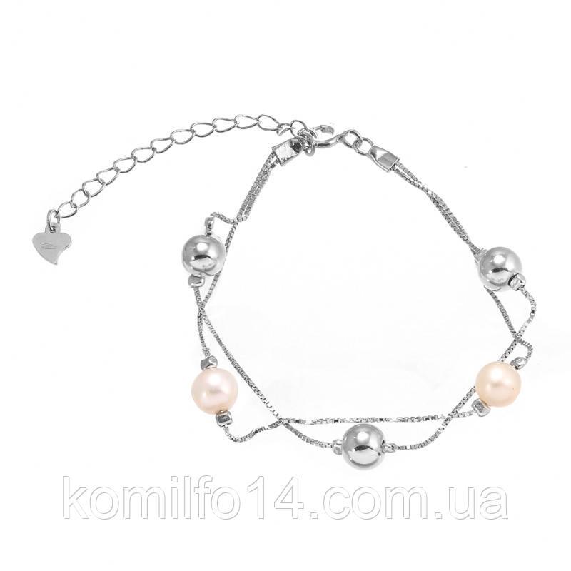 Женский серебряный браслет с речным жемчугом на ногу
