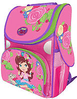 Шкільний каркасний ранець Girl & kitty 1-2 класс Rainbow