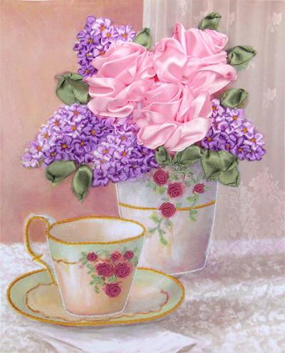 Набор для вышивания атласными ленточками Свежесть розы