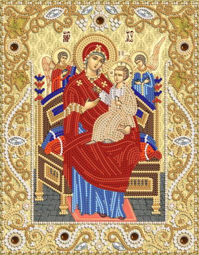 """Ткань с рисунком для вышивания бисером Икона Божией Матери """"Всецарица"""""""