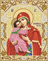 Ткань с рисунком для вышивания бисером Владимирская икона Божией Матери
