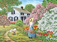 Ткань с рисунком для вышивания бисером Весна в саду