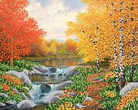 Ткань с рисунком для вышивания бисером Осенняя река