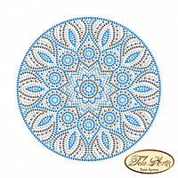 Схема для вышивки бисером на габардине Мандала Бирюза