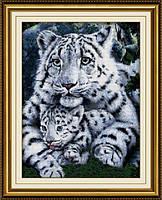 Набор для рисования камнями (холст) Белая тигрица и детеныш LasKo