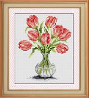 Набор для рисования камнями (холст) Тюльпаны в вазе LasKo