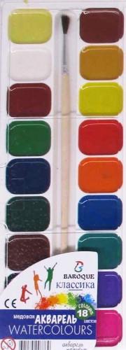 Краска акварель 18 цв.30мл + кисть