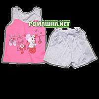 Детский летний костюм р. 104-110 для девочки тонкий ткань КУЛИР 100% хлопок 3585 Розовый 110