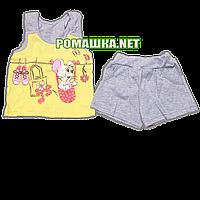 Детский летний костюм р. 80-86 для девочки тонкий ткань КУЛИР 100% хлопок 3585 Желтый 80