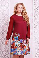 Женское бордовое платье свободного кроя с цветочным принтом