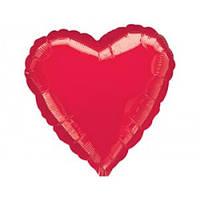 """Фольгированный шар Сердце -мини 9"""" 23 см красное металлик"""