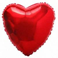 """Фольгированный шар Сердце 18"""" 46 см красное металлик"""
