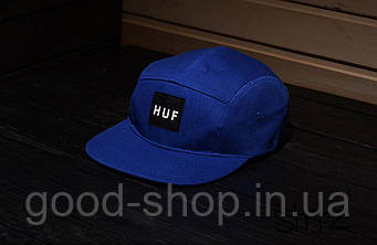 Пятипанельная кепка HUF синяя (люкс копия)