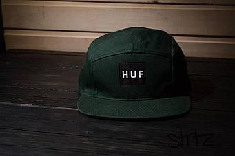 Пятипанельная кепка HUF зеленая